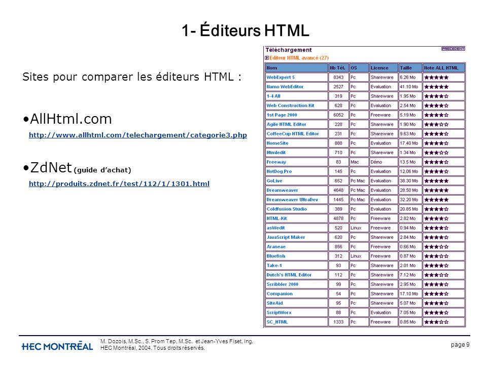page 9 M. Dozois, M.Sc., S. Prom Tep, M.Sc. et Jean-Yves Fiset, ing. HEC Montréal, 2004. Tous droits réservés. 1- Éditeurs HTML Sites pour comparer le