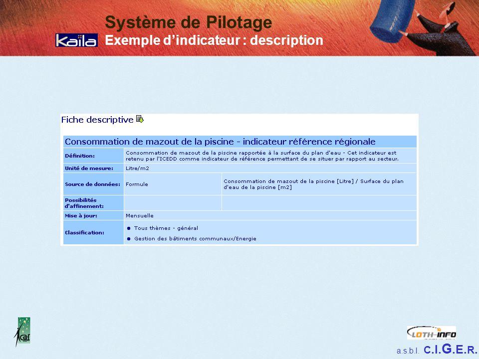 a.s.b.l. C.I. G.E. R. Système de Pilotage Exemple dindicateur : description