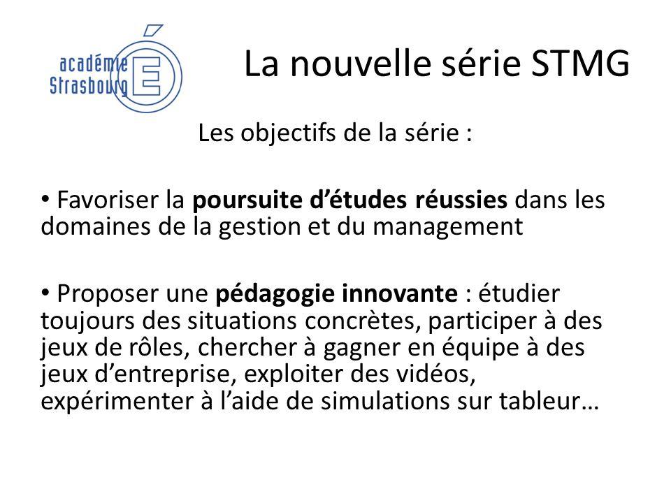 La nouvelle série STMG Les objectifs de la série : Favoriser la poursuite détudes réussies dans les domaines de la gestion et du management Proposer u