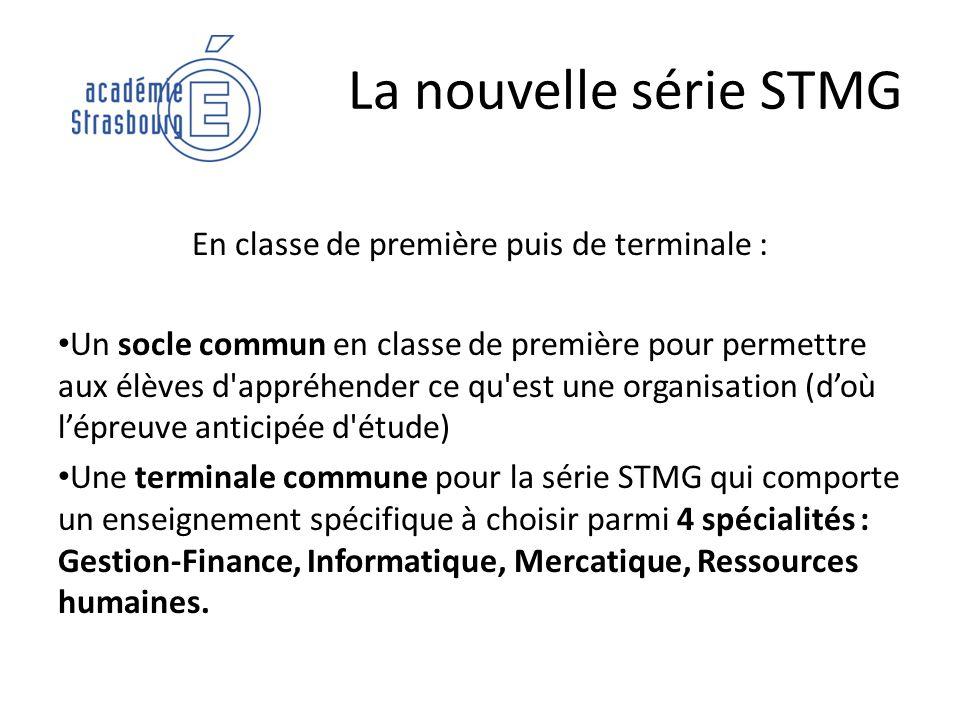 La nouvelle série STMG En classe de première puis de terminale : Un socle commun en classe de première pour permettre aux élèves d'appréhender ce qu'e