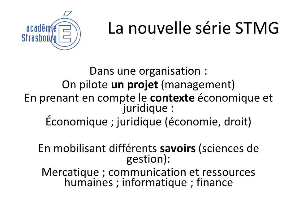 La nouvelle série STMG Dans une organisation : On pilote un projet (management) En prenant en compte le contexte économique et juridique : Économique