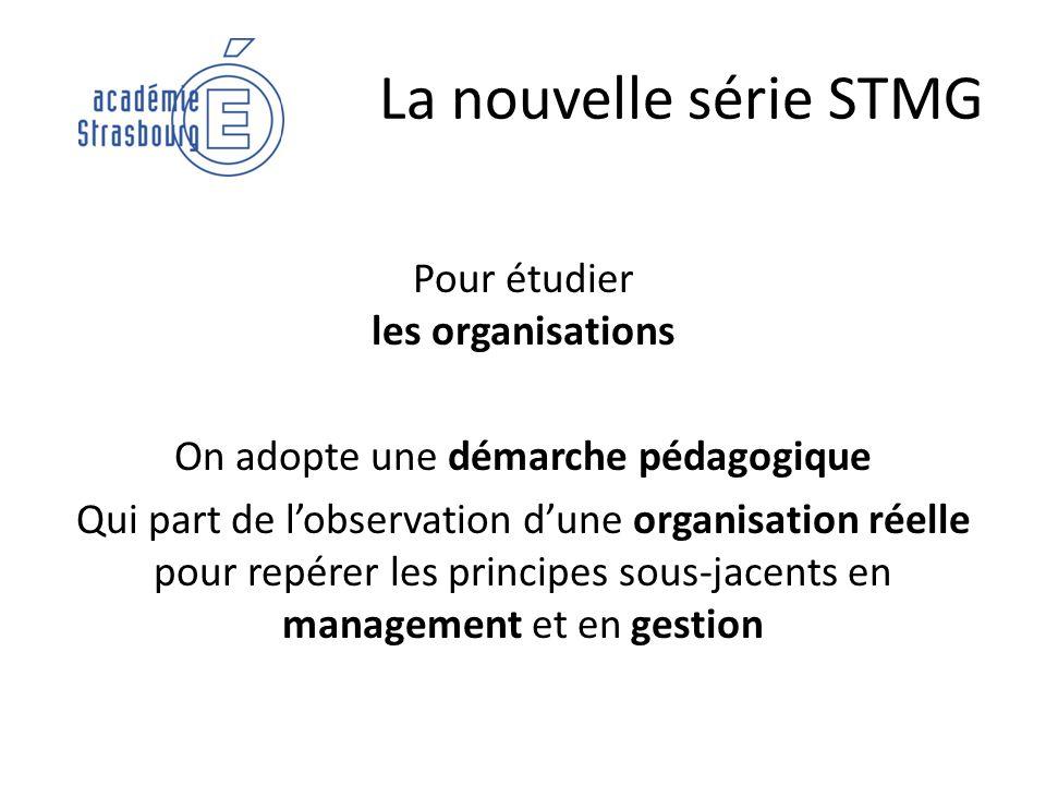 La nouvelle série STMG Pour étudier les organisations On adopte une démarche pédagogique Qui part de lobservation dune organisation réelle pour repére