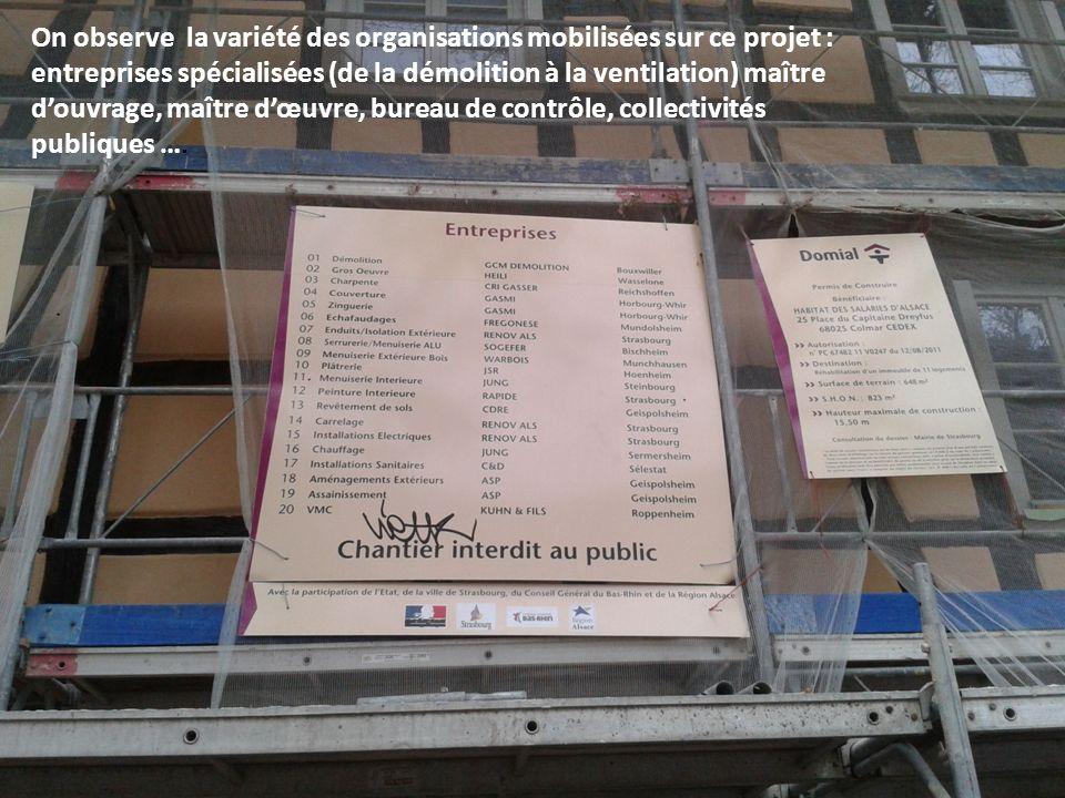 On observe la variété des organisations mobilisées sur ce projet : entreprises spécialisées (de la démolition à la ventilation) maître douvrage, maîtr