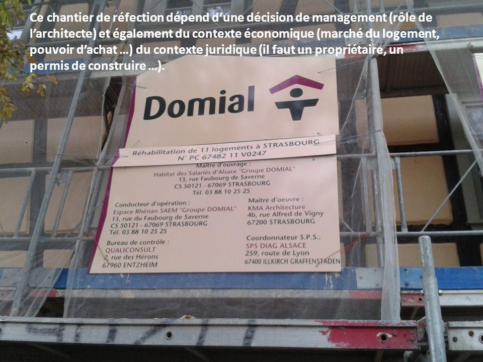 Ce chantier de réfection dépend dune décision de management (rôle de larchitecte) et également du contexte économique (marché du logement, pouvoir dac