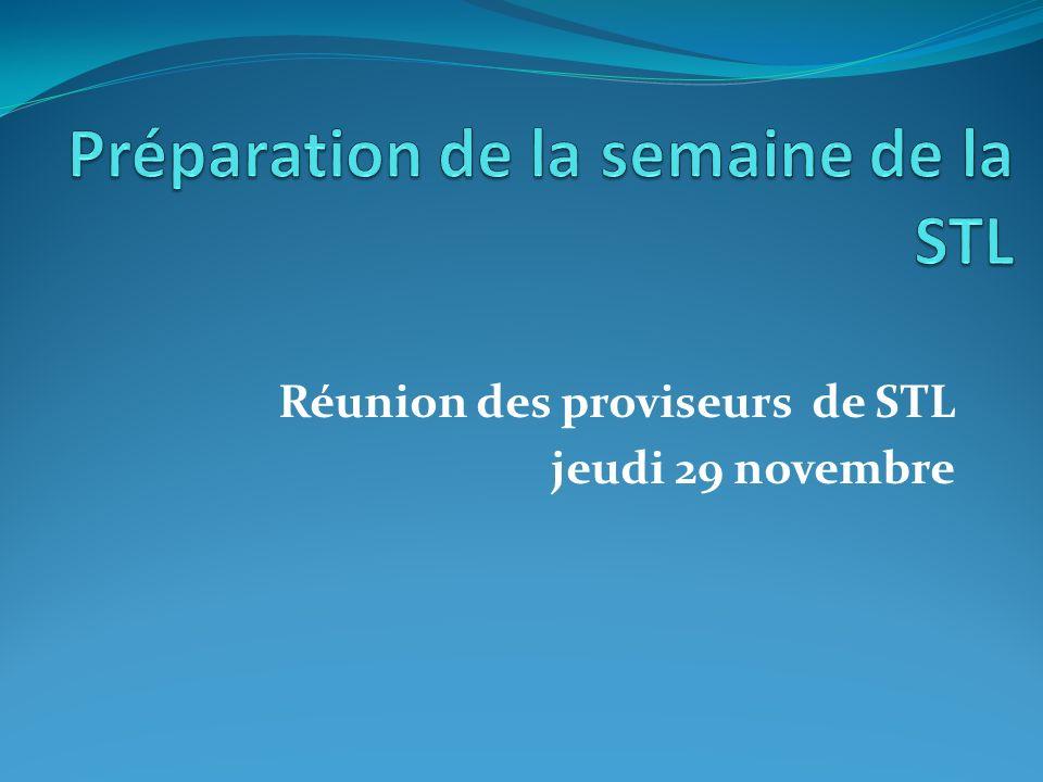 Réunion des proviseurs de STL jeudi 29 novembre