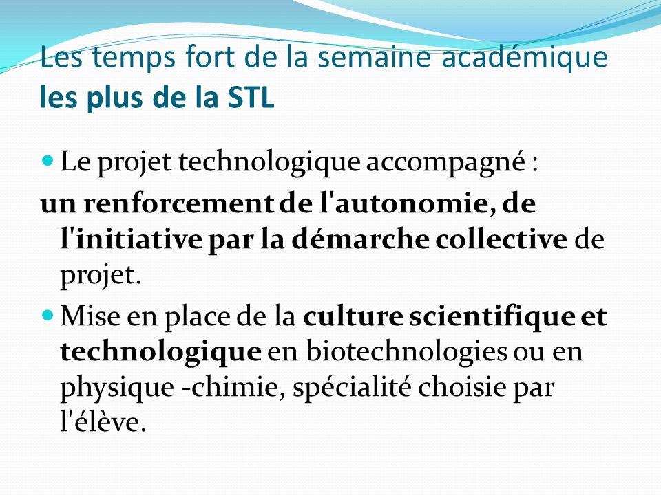 Les temps fort de la semaine académique les plus de la STL Le projet technologique accompagné : un renforcement de l autonomie, de l initiative par la démarche collective de projet.
