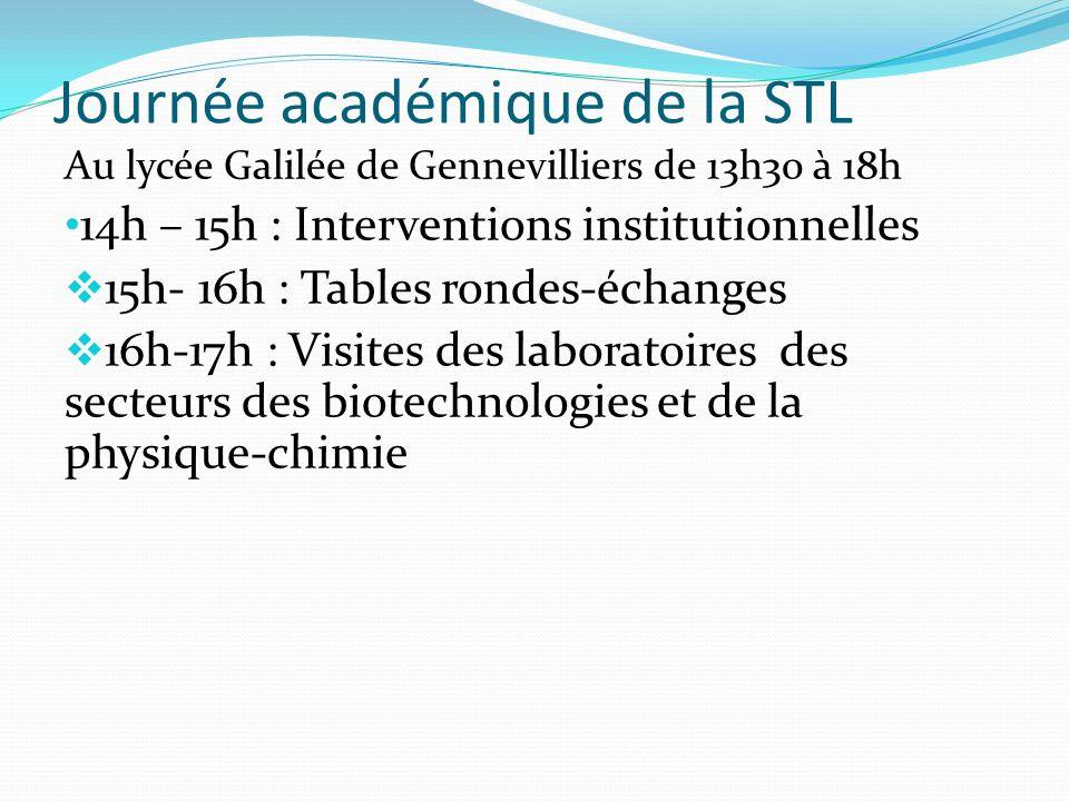 Journée académique de la STL : Public invité DASEN, IEN IO, DAFPA, SAIO Chefs d établissements animateurs de bassin (24 représentants de lacadémie) Professeurs principaux et de sciences expérimentales de seconde et de première.