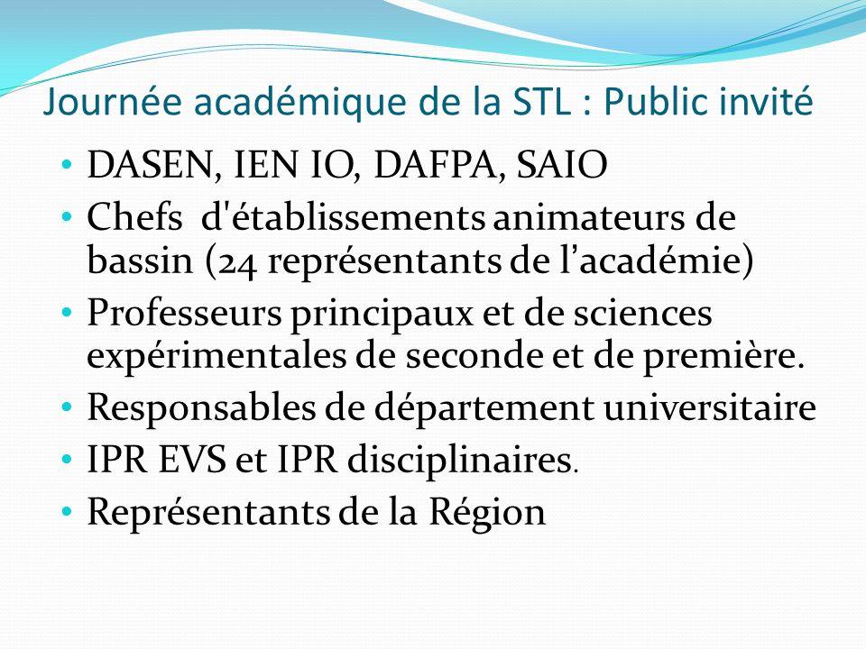 Journée académique de la STL : Public invité DASEN, IEN IO, DAFPA, SAIO Chefs d'établissements animateurs de bassin (24 représentants de lacadémie) Pr