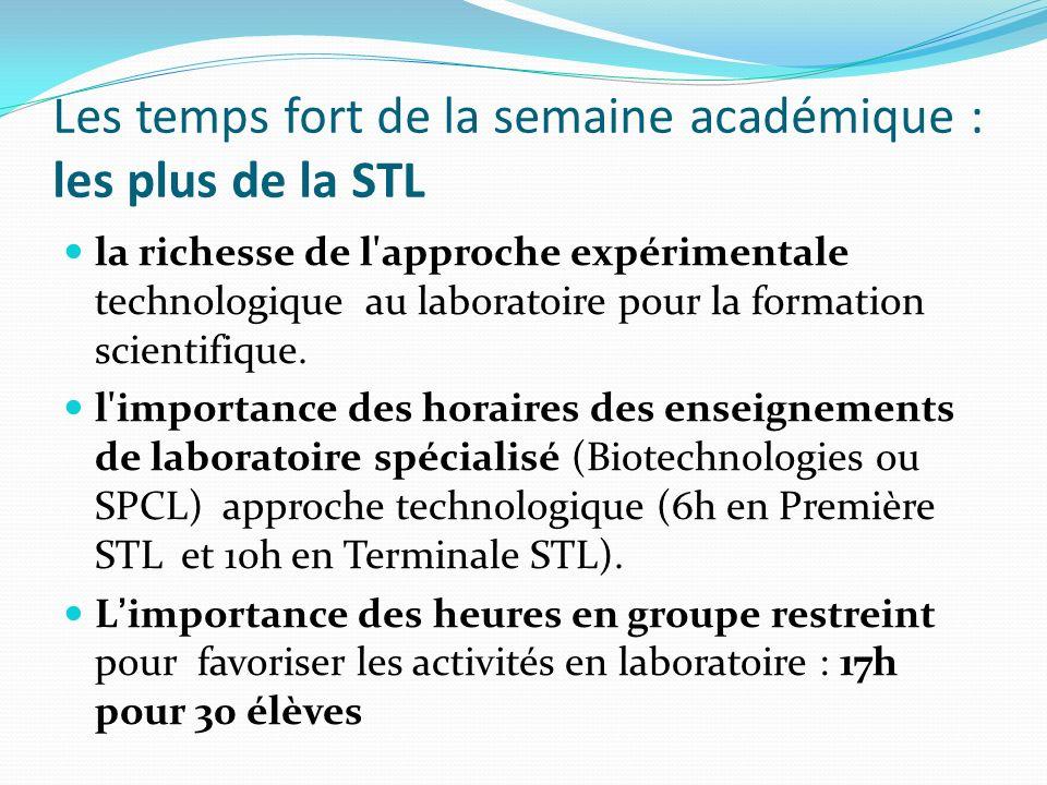 Les temps fort de la semaine académique : les plus de la STL la richesse de l'approche expérimentale technologique au laboratoire pour la formation sc