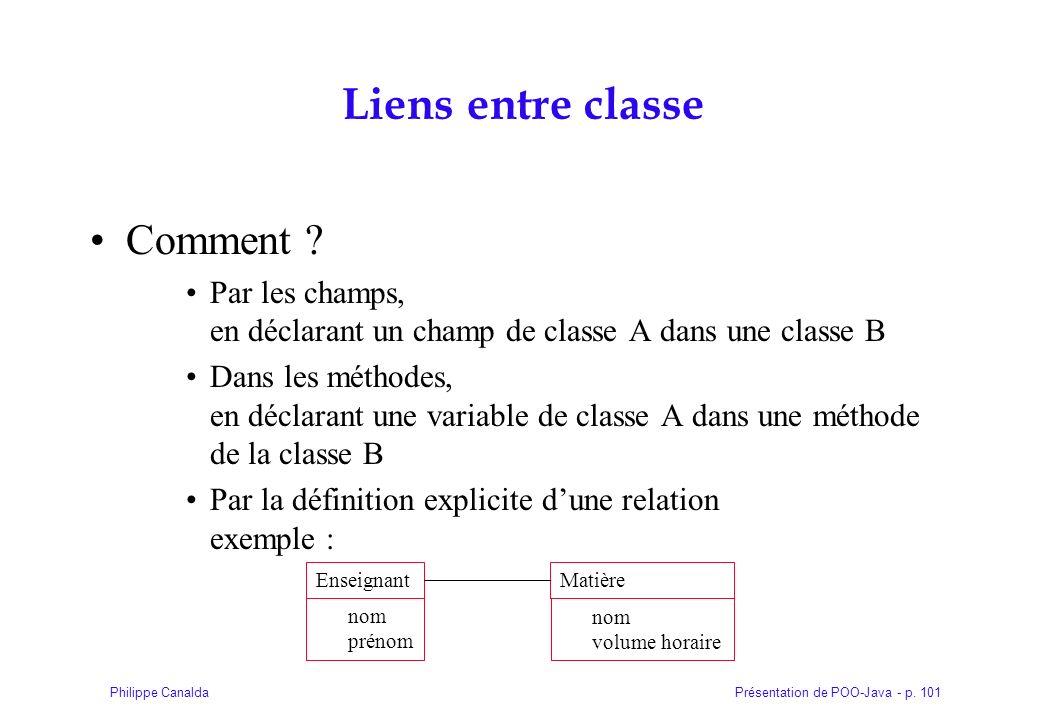 Présentation de POO-Java - p. 101Philippe Canalda Liens entre classe Comment ? Par les champs, en déclarant un champ de classe A dans une classe B Dan