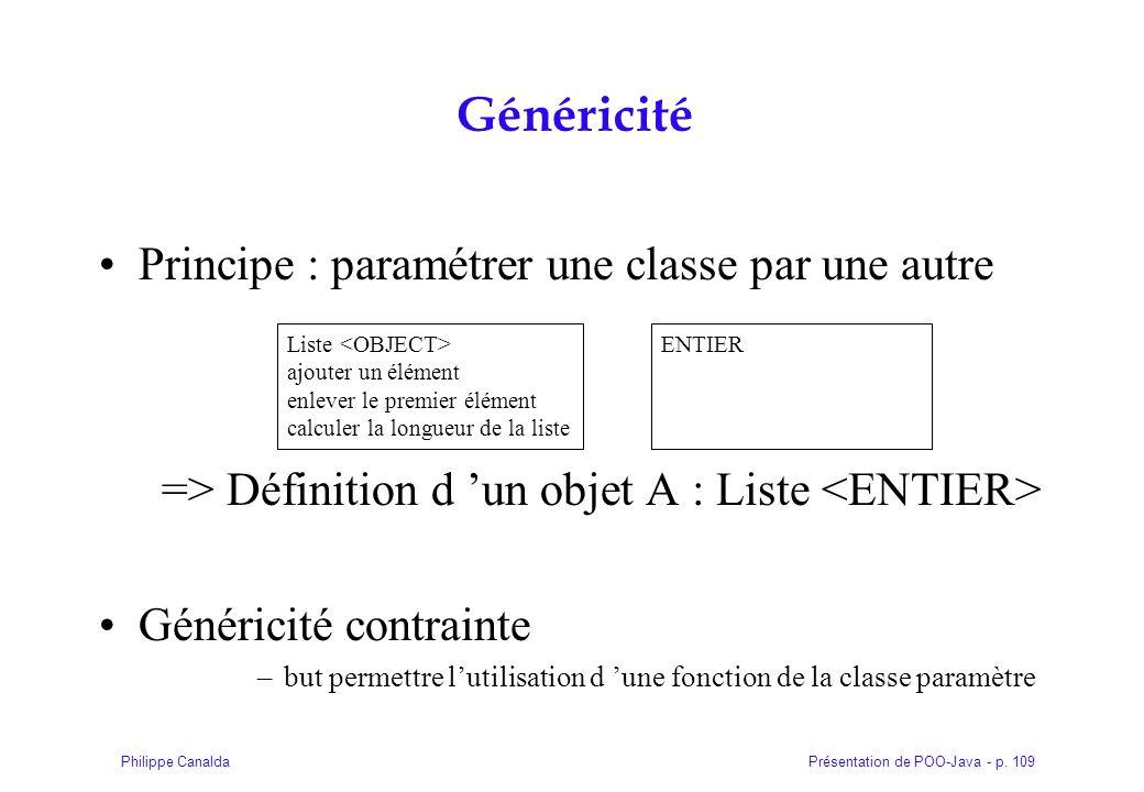 Présentation de POO-Java - p. 109Philippe Canalda Généricité Principe : paramétrer une classe par une autre => Définition d un objet A : Liste Généric