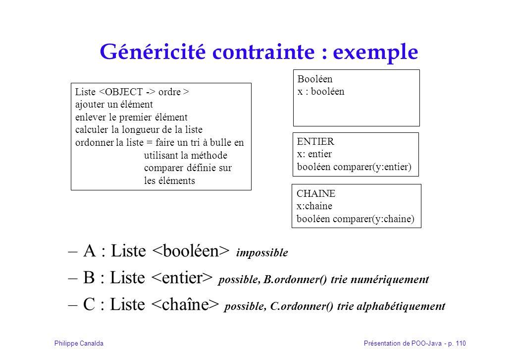 Présentation de POO-Java - p. 110Philippe Canalda Généricité contrainte : exemple –A : Liste impossible –B : Liste possible, B.ordonner() trie numériq