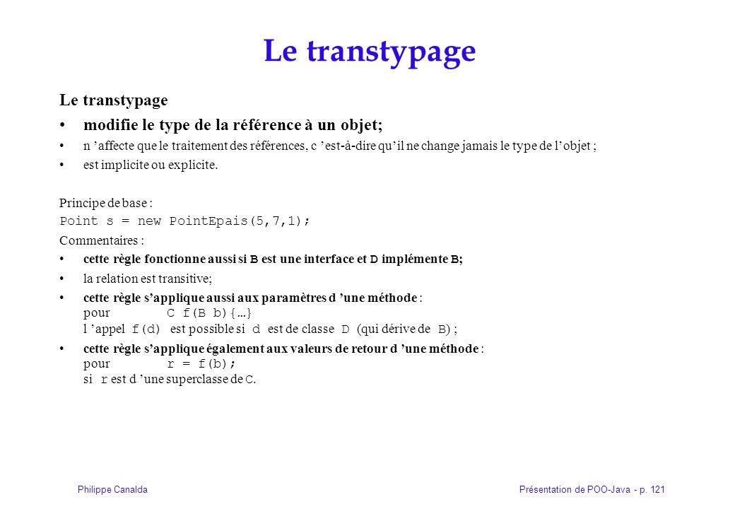 Présentation de POO-Java - p. 121Philippe Canalda Le transtypage modifie le type de la référence à un objet; n affecte que le traitement des référence