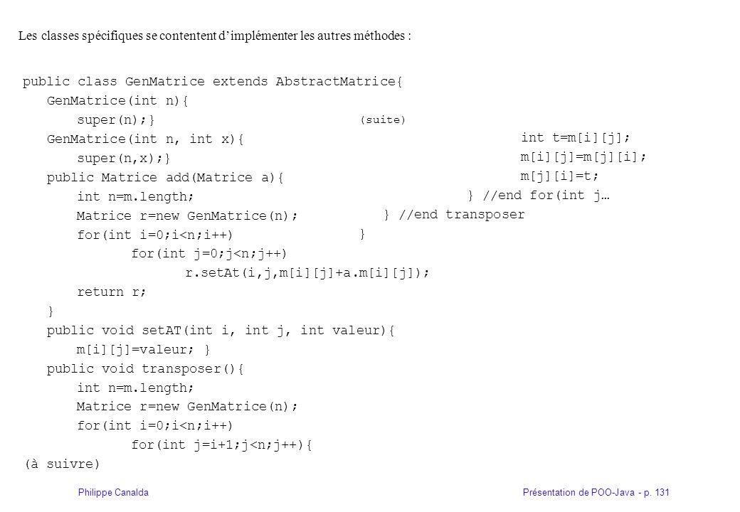 Présentation de POO-Java - p. 131Philippe Canalda Les classes spécifiques se contentent dimplémenter les autres méthodes : public class GenMatrice ext