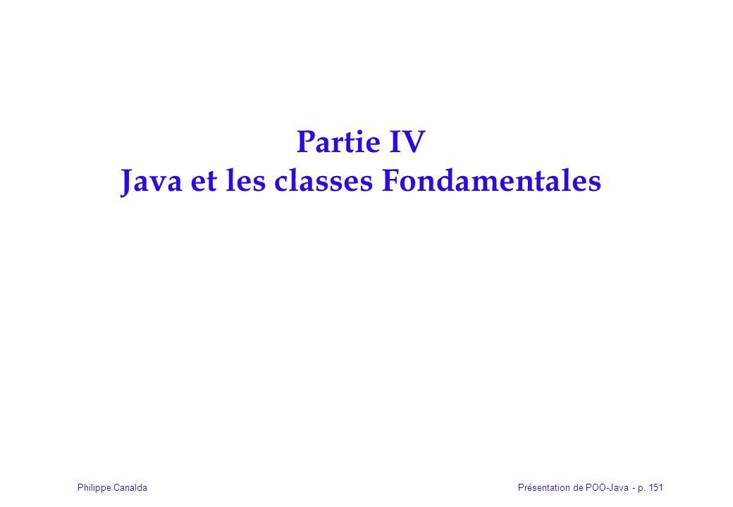 Présentation de POO-Java - p. 151Philippe Canalda Partie IV Java et les classes Fondamentales