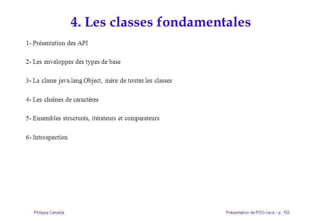 Présentation de POO-Java - p. 152Philippe Canalda 4. Les classes fondamentales 1- Présentation des API 2- Les enveloppes des types de base 3- La class