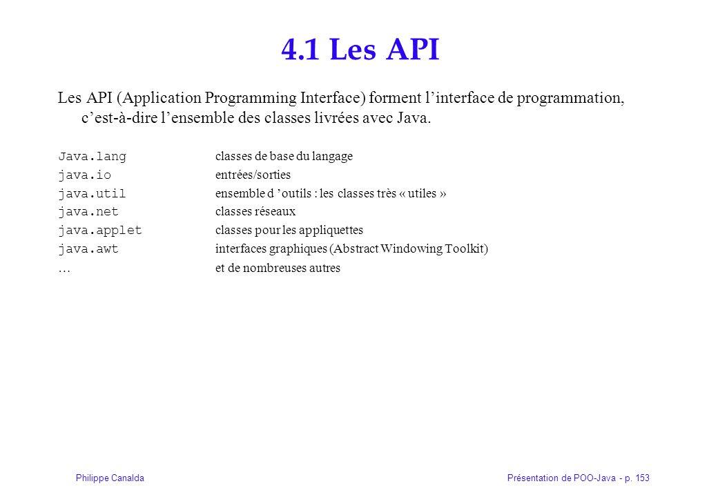Présentation de POO-Java - p. 153Philippe Canalda 4.1 Les API Les API (Application Programming Interface) forment linterface de programmation, cest-à-
