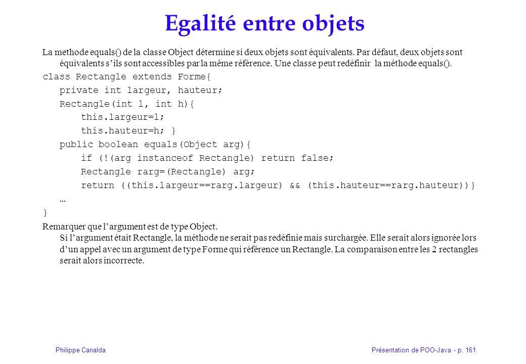 Présentation de POO-Java - p. 161Philippe Canalda Egalité entre objets La methode equals() de la classe Object détermine si deux objets sont équivalen