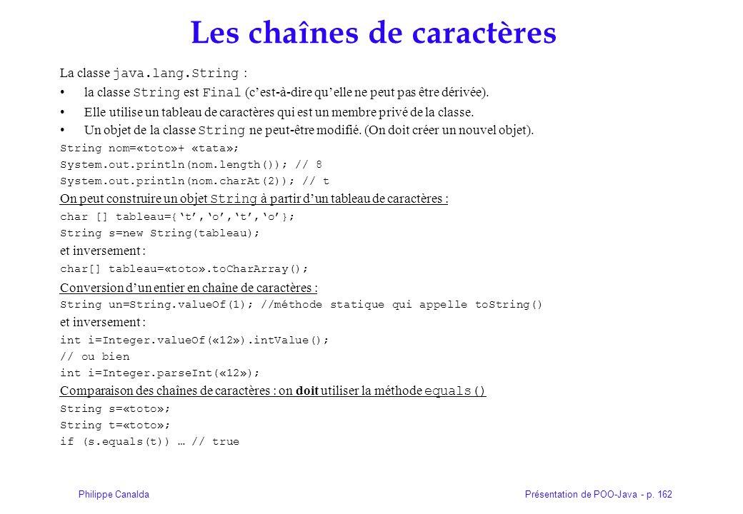 Présentation de POO-Java - p. 162Philippe Canalda Les chaînes de caractères La classe java.lang.String : la classe String est Final (cest-à-dire quell