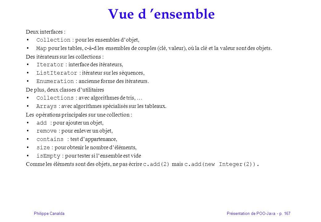 Présentation de POO-Java - p. 167Philippe Canalda Vue d ensemble Deux interfaces : Collection : pour les ensembles dobjet, Map pour les tables, c-à-d