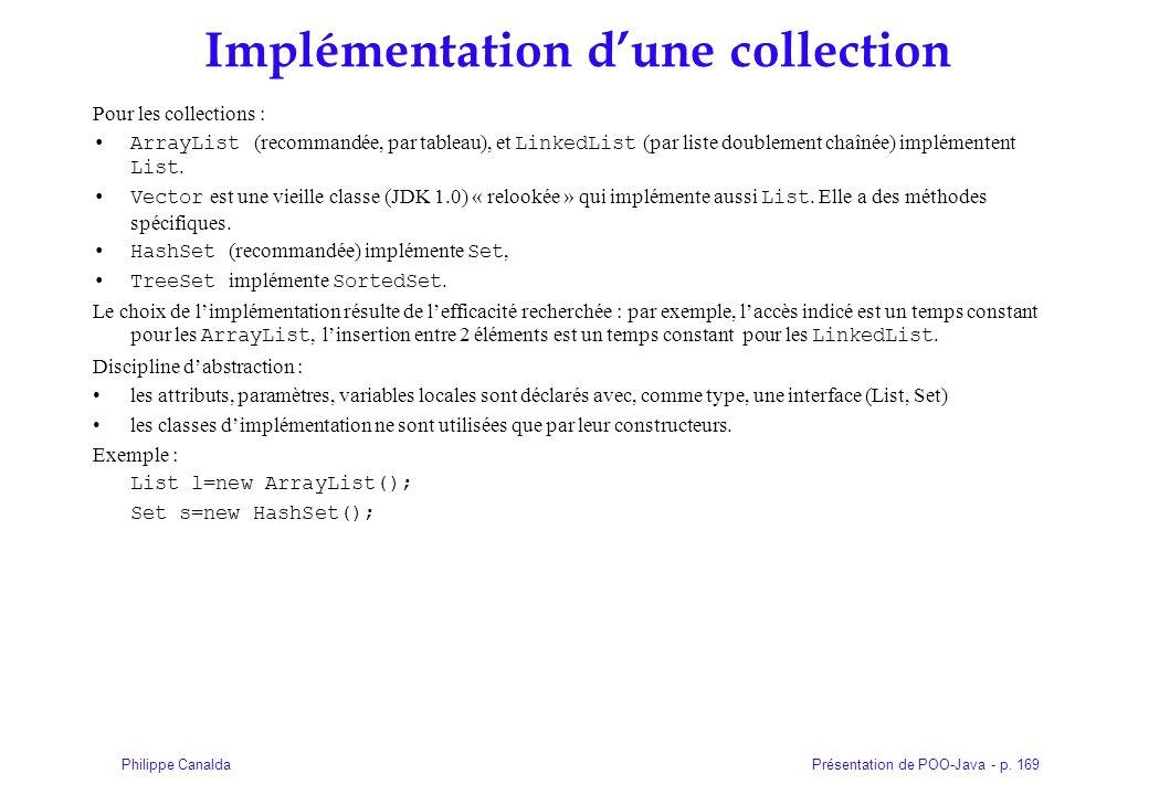 Présentation de POO-Java - p. 169Philippe Canalda Implémentation dune collection Pour les collections : ArrayList (recommandée, par tableau), et Linke