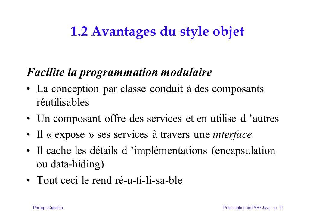 Présentation de POO-Java - p. 17Philippe Canalda 1.2 Avantages du style objet Facilite la programmation modulaire La conception par classe conduit à d