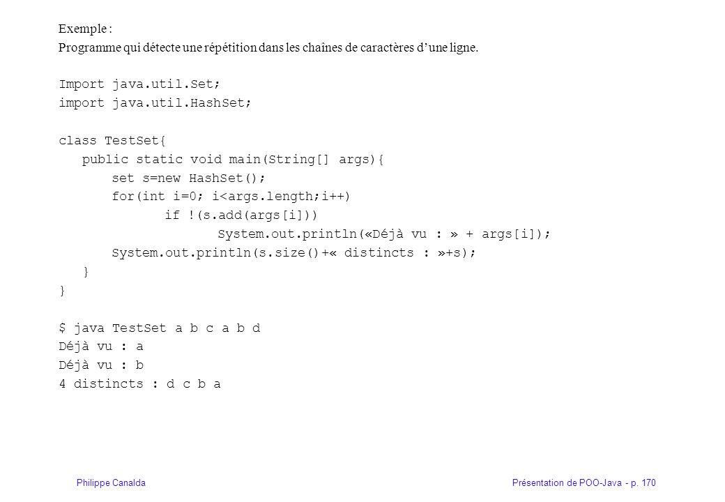 Présentation de POO-Java - p. 170Philippe Canalda Exemple : Programme qui détecte une répétition dans les chaînes de caractères dune ligne. Import jav