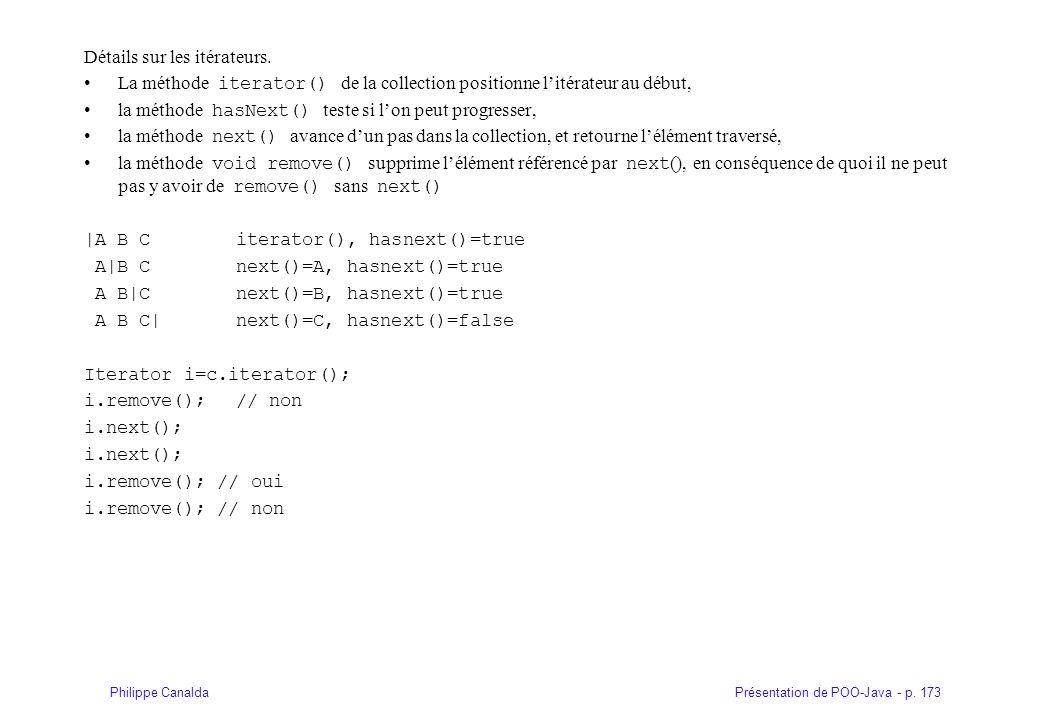 Présentation de POO-Java - p. 173Philippe Canalda Détails sur les itérateurs. La méthode iterator() de la collection positionne litérateur au début, l