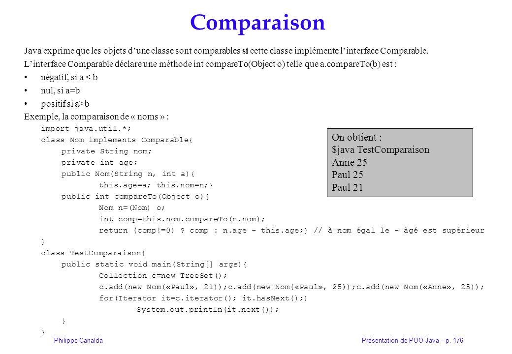 Présentation de POO-Java - p. 176Philippe Canalda Comparaison Java exprime que les objets dune classe sont comparables si cette classe implémente lint