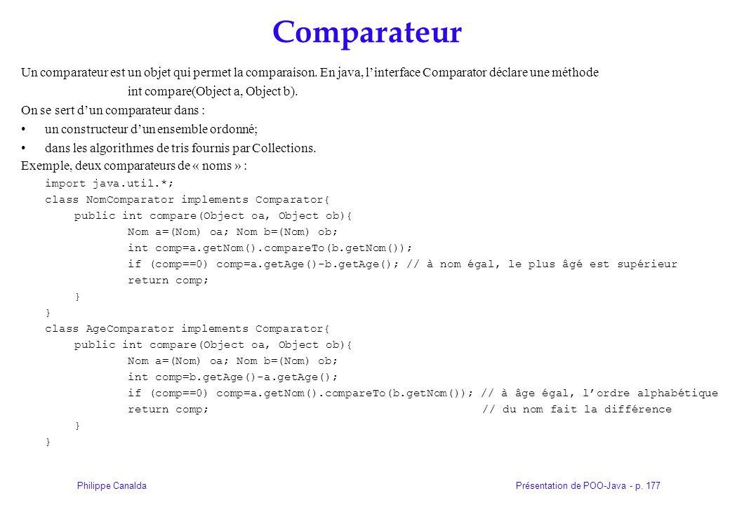 Présentation de POO-Java - p. 177Philippe Canalda Comparateur Un comparateur est un objet qui permet la comparaison. En java, linterface Comparator dé