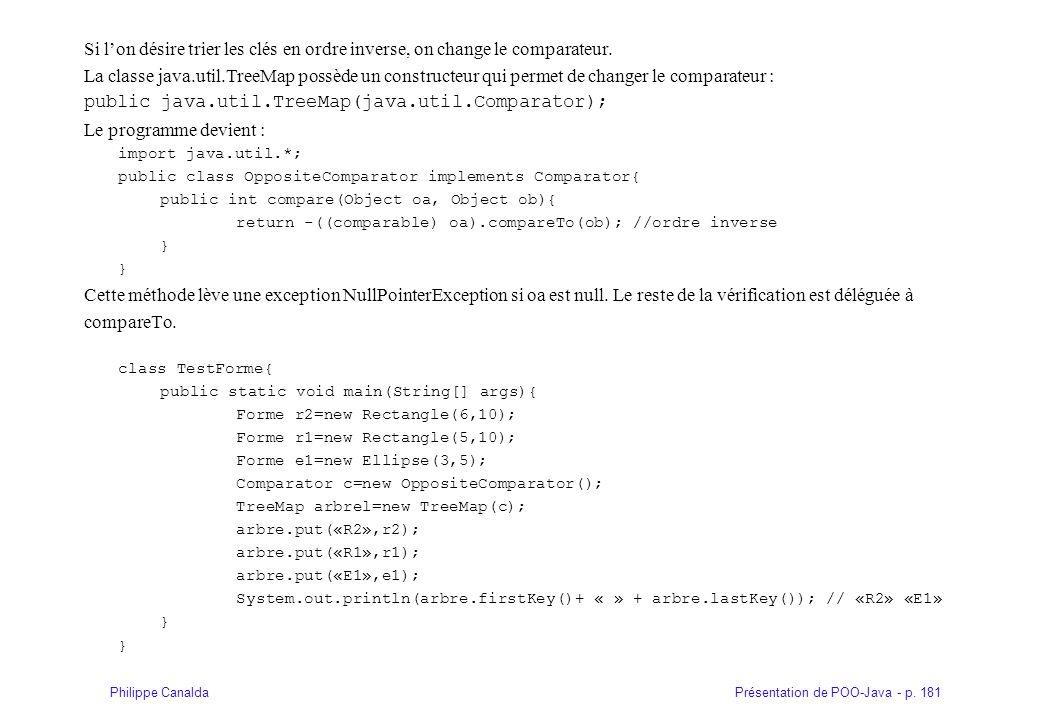 Présentation de POO-Java - p. 181Philippe Canalda Si lon désire trier les clés en ordre inverse, on change le comparateur. La classe java.util.TreeMap