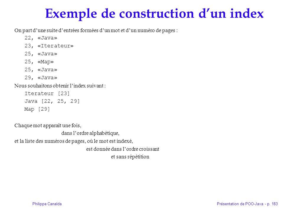 Présentation de POO-Java - p. 183Philippe Canalda Exemple de construction dun index On part dune suite dentrées formées dun mot et dun numéro de pages