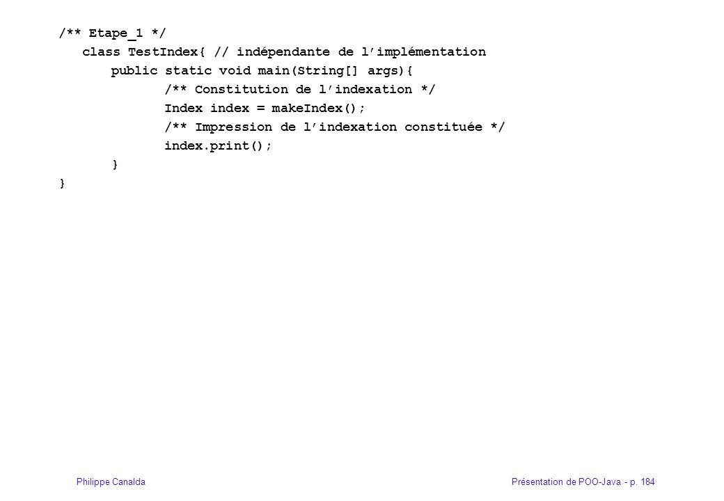 Présentation de POO-Java - p. 184Philippe Canalda /** Etape_1 */ class TestIndex{ // indépendante de limplémentation public static void main(String[]