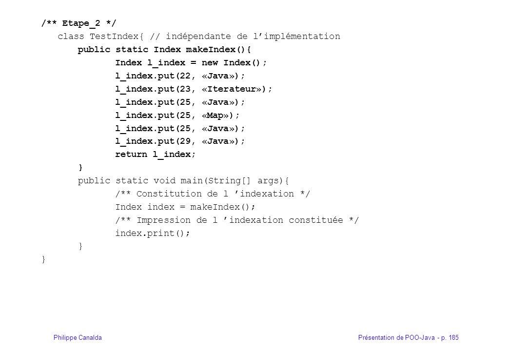 Présentation de POO-Java - p. 185Philippe Canalda /** Etape_2 */ class TestIndex{ // indépendante de limplémentation public static Index makeIndex(){