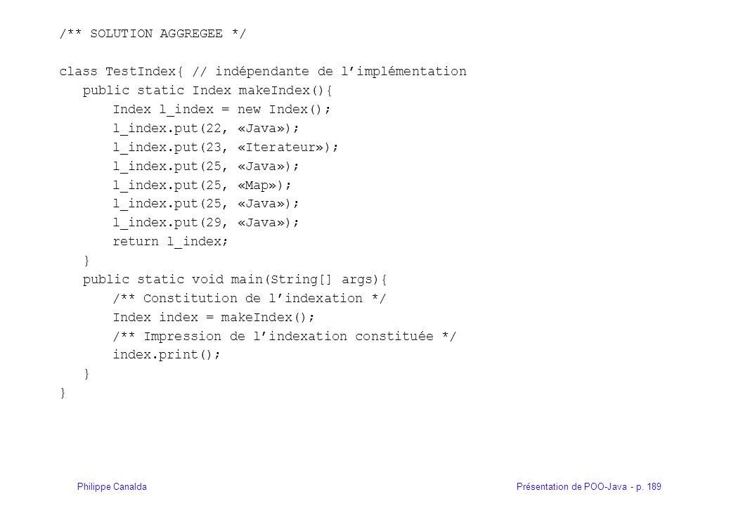 Présentation de POO-Java - p. 189Philippe Canalda /** SOLUTION AGGREGEE */ class TestIndex{ // indépendante de limplémentation public static Index mak