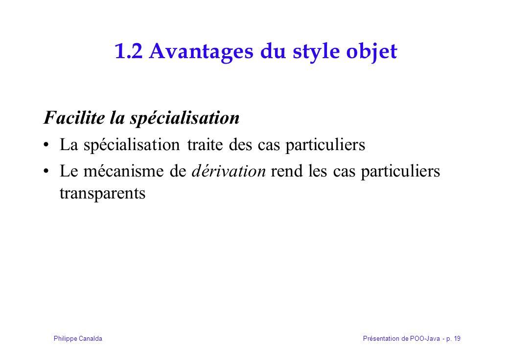 Présentation de POO-Java - p. 19Philippe Canalda 1.2 Avantages du style objet Facilite la spécialisation La spécialisation traite des cas particuliers