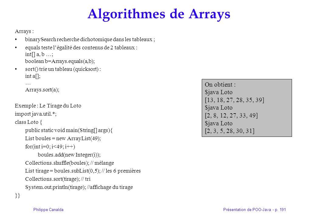 Présentation de POO-Java - p. 191Philippe Canalda Algorithmes de Arrays Arrays : binarySearch recherche dichotomique dans les tableaux ; equals teste