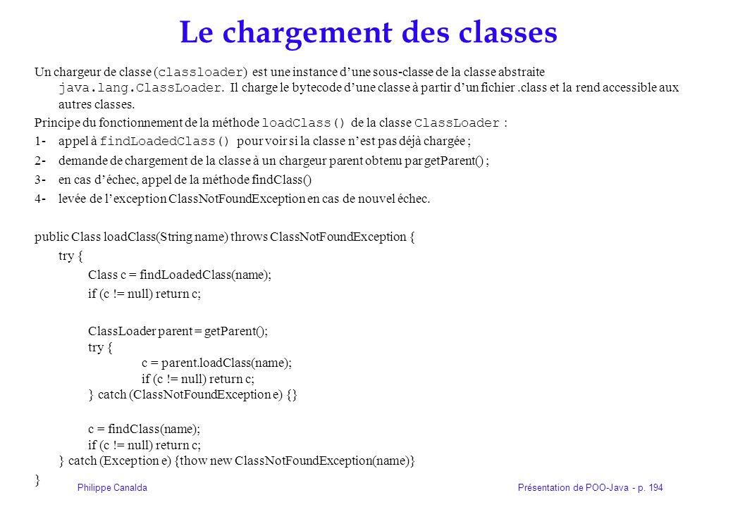 Présentation de POO-Java - p. 194Philippe Canalda Le chargement des classes Un chargeur de classe ( classloader ) est une instance dune sous-classe de