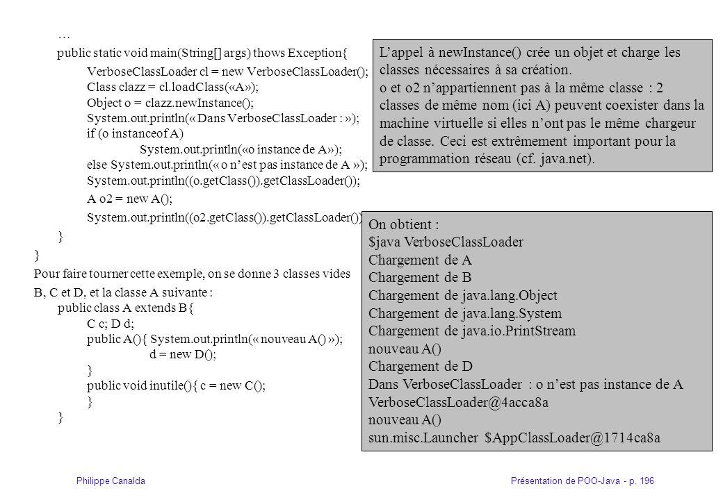 Présentation de POO-Java - p. 196Philippe Canalda … public static void main(String[] args) thows Exception{ VerboseClassLoader cl = new VerboseClassLo