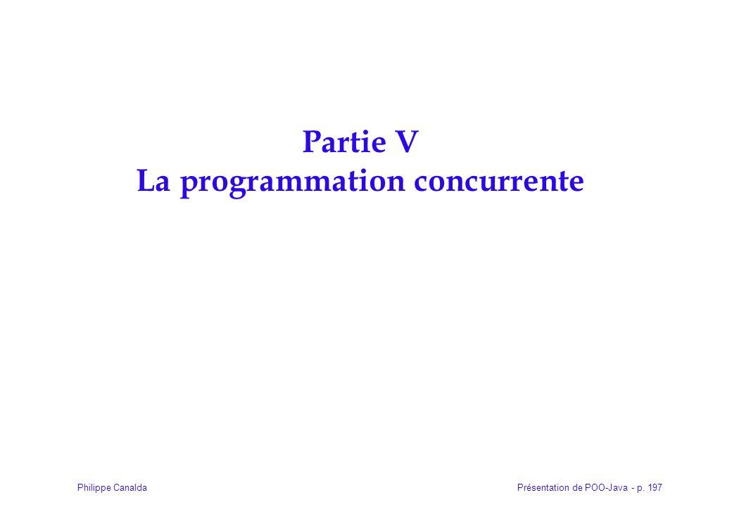 Présentation de POO-Java - p. 197Philippe Canalda Partie V La programmation concurrente