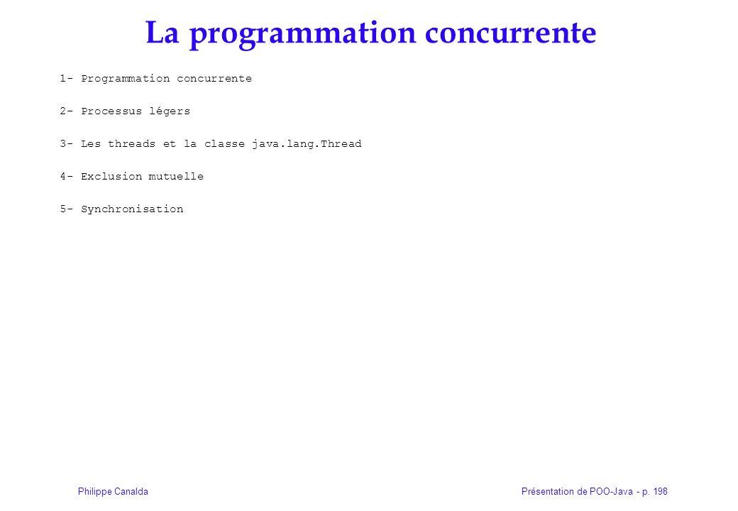Présentation de POO-Java - p. 198Philippe Canalda La programmation concurrente 1- Programmation concurrente 2- Processus légers 3- Les threads et la c