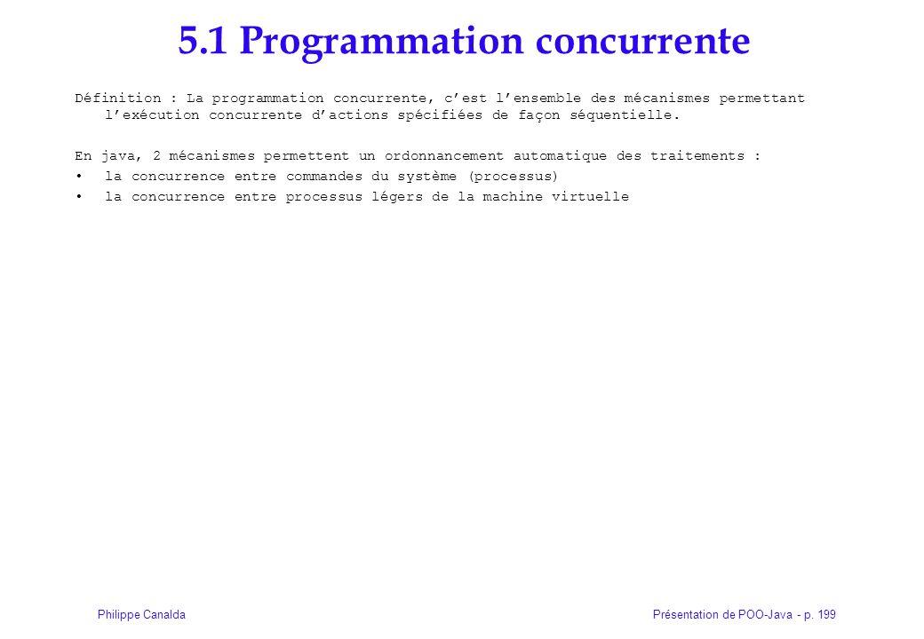 Présentation de POO-Java - p. 199Philippe Canalda 5.1 Programmation concurrente Définition : La programmation concurrente, cest lensemble des mécanism