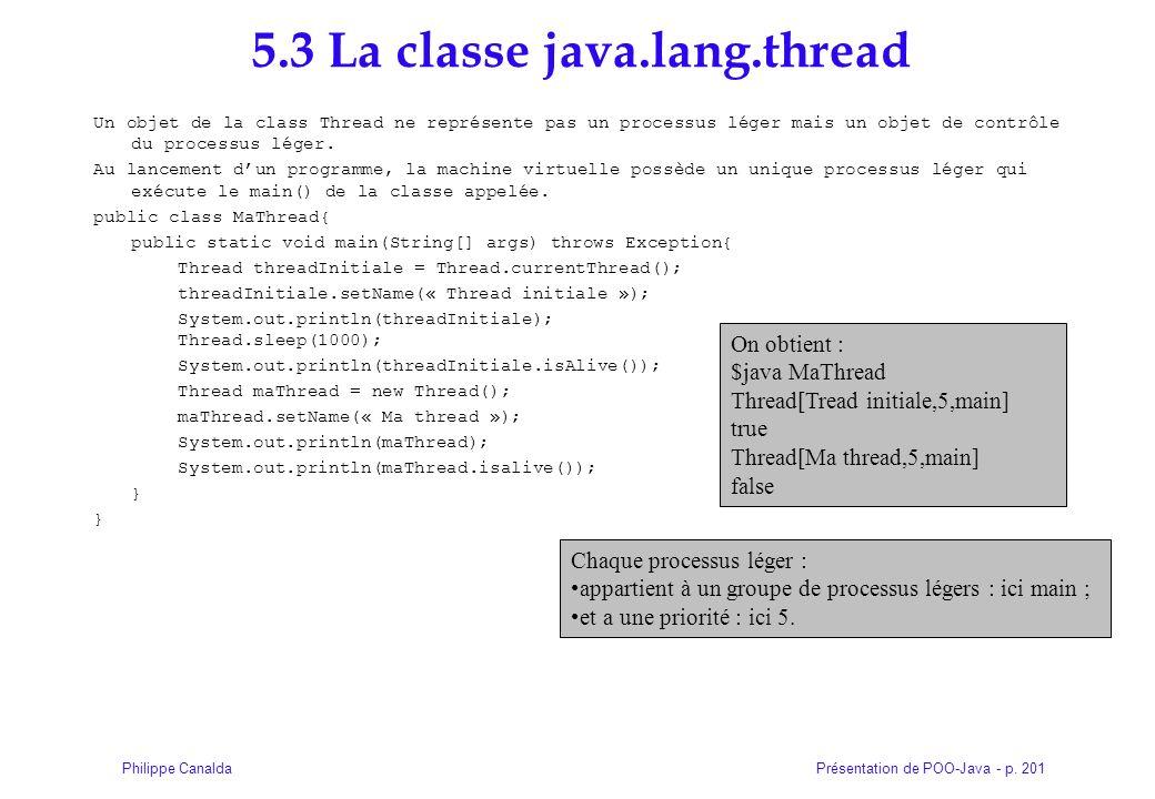 Présentation de POO-Java - p. 201Philippe Canalda 5.3 La classe java.lang.thread Un objet de la class Thread ne représente pas un processus léger mais