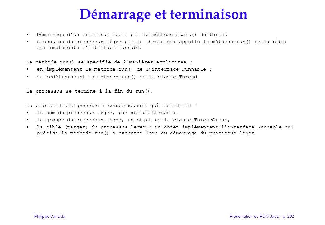 Présentation de POO-Java - p. 202Philippe Canalda Démarrage et terminaison Démarrage dun processus léger par la méthode start() du thread exécution du