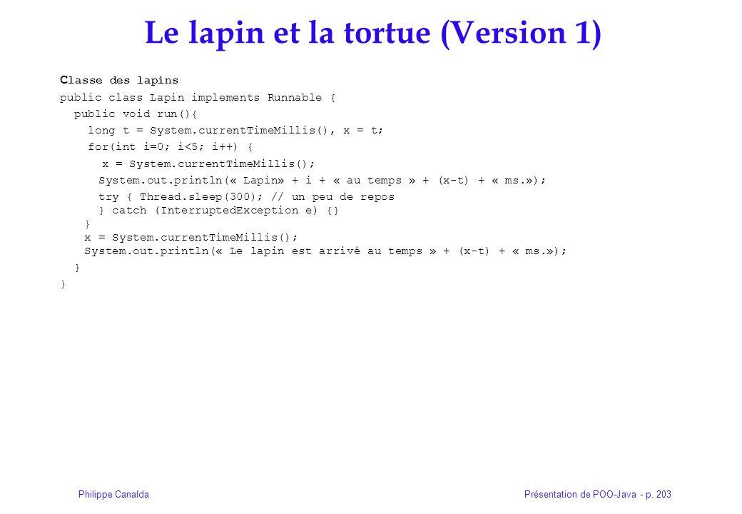 Présentation de POO-Java - p. 203Philippe Canalda Le lapin et la tortue (Version 1) C lasse des lapins public class Lapin implements Runnable { public