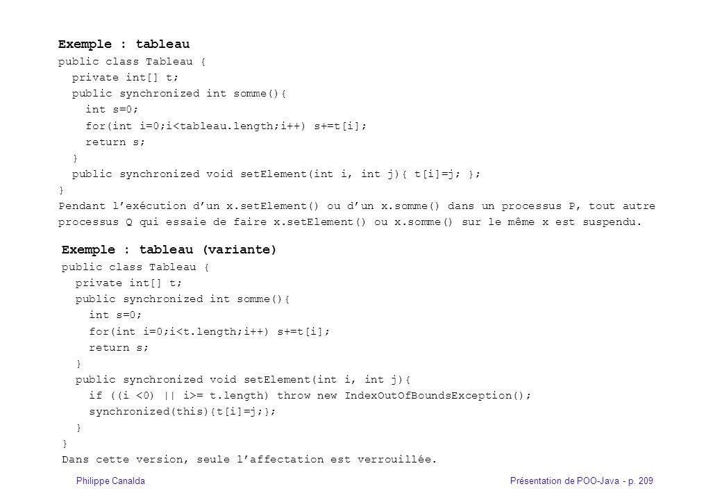 Présentation de POO-Java - p. 209Philippe Canalda Exemple : tableau public class Tableau { private int[] t; public synchronized int somme(){ int s=0;