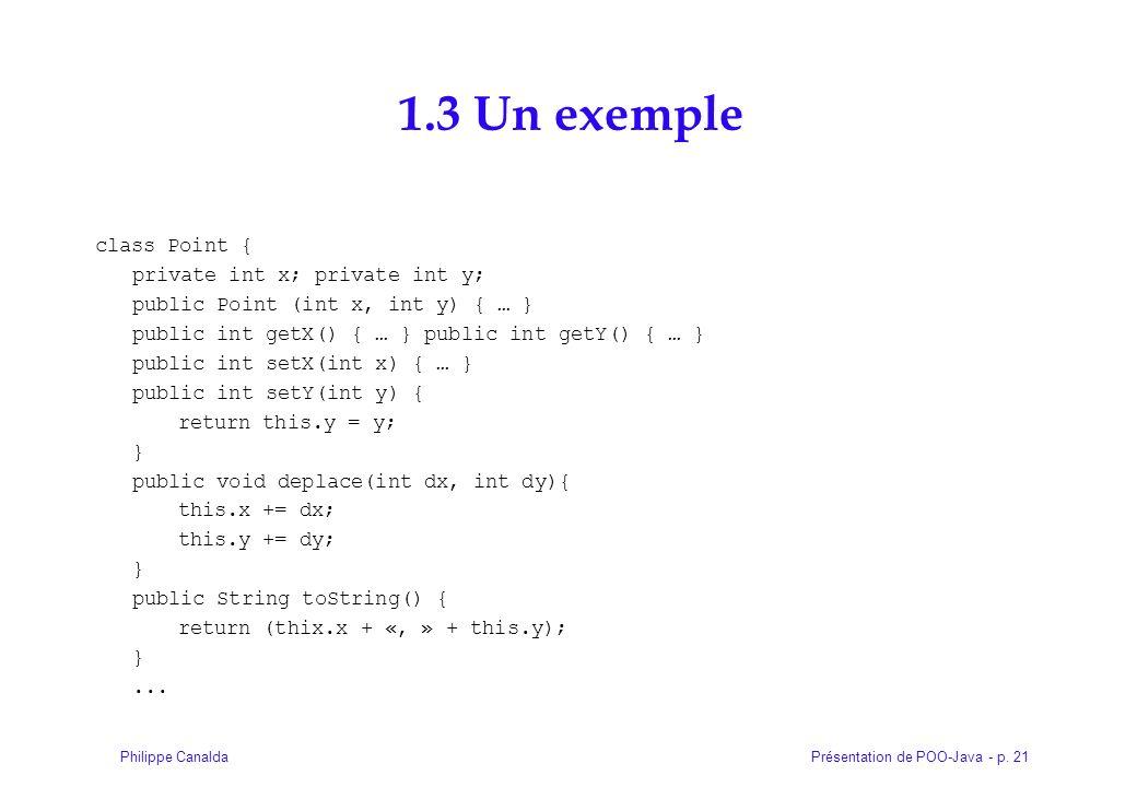 Présentation de POO-Java - p. 21Philippe Canalda 1.3 Un exemple class Point { private int x; private int y; public Point (int x, int y) { … } public i