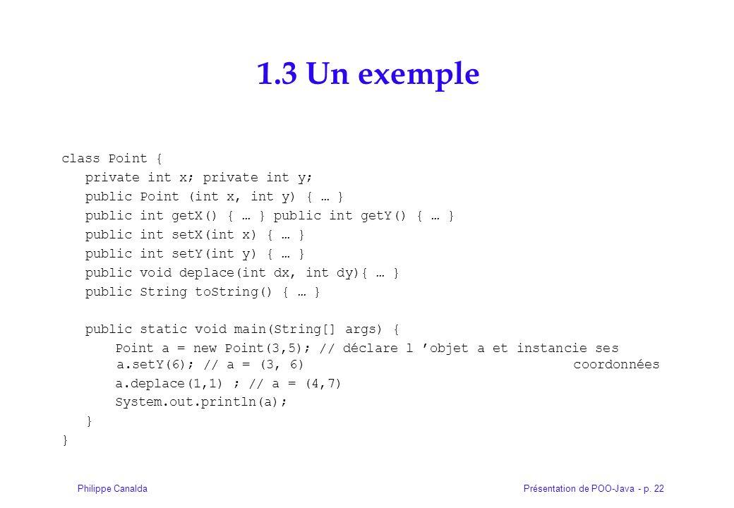 Présentation de POO-Java - p. 22Philippe Canalda 1.3 Un exemple class Point { private int x; private int y; public Point (int x, int y) { … } public i