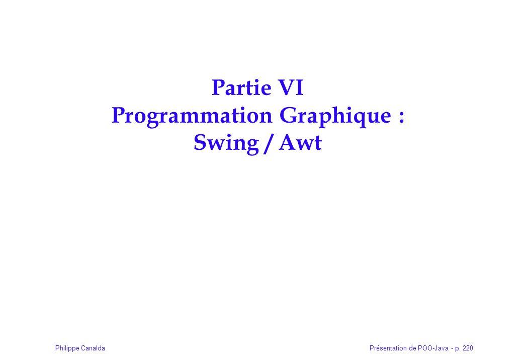 Présentation de POO-Java - p. 220Philippe Canalda Partie VI Programmation Graphique : Swing / Awt