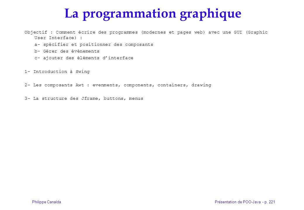 Présentation de POO-Java - p. 221Philippe Canalda La programmation graphique Objectif : Comment écrire des programmes (modernes et pages web) avec une